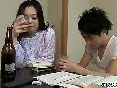 Sleepy but horny Japanese wife wanna get her bushy pussy torn up
