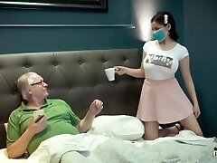 Busty young thing under quarantine with old granddad