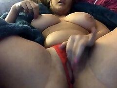 Chubby Brunette Big Knockers Dildo Masturbation