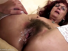 Deep fisting for magnificent mature mom's hairy pussy