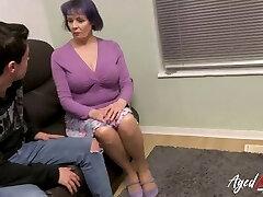 AgedLovE Busty British Mature Fucks Teenie Guy