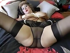 luscious Mommy in FF Nylons taunts toys and facial