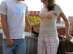 Ardent nympho Dolly P gets her tight pussy drilled on the roof