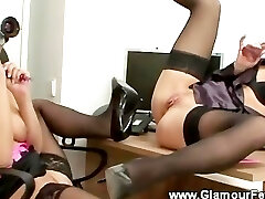 Lesbian secretaries liven up their office playtime with playthings