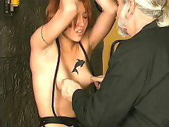 Sexy slave crotch roped,clamped and made cum