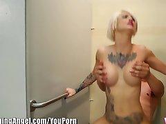 BurningAngel Punk Chick Sucks Cock In Restaurant Bathroom