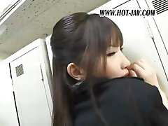 Japanese office gal gets played with and then sucks his cock