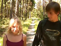 Silent small-titted girl fucks in the woods