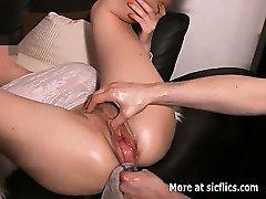 Gigantic vaginal bottle fuck and fisting destruction