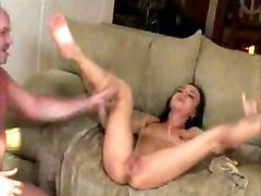 Slowmo squirt with ugly baldy man