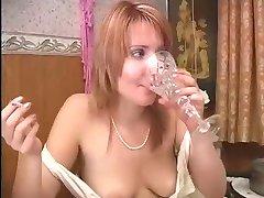 Russian Woman Has Dinner and Masturbates