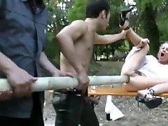 Ash-blonde gets a huge pole up her donk