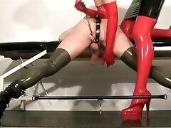 My slave femdom video - Milking my condom slut