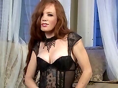 Sexy Ginger-haired in stockings & high heels