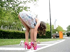 Teen skipping cord in high heels UPSKIRT views