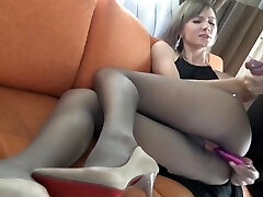 Wife porks her man in pantyhose and heels
