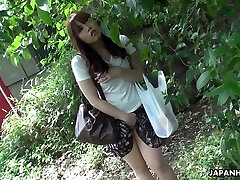 Beautiful and nosey redhead Asian teen watches sex on the street and wanks