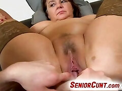 Fat lady Eva aged vagina fingered and toyed point of view zoom