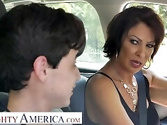 Naughty America Vanessa Videl instructs Juan how to take care of a nymph