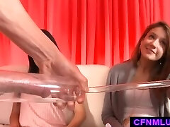 Girls measure cock in penis pump during CFNM show