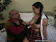 Sexy college gal with juicy boobies gets spanked stiff