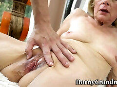 Old grandmother gets creampied