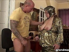 Fat ugly and revved on granny gives a blowjob and rides strong knob