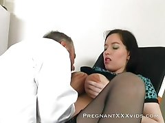 Pregnant milf likes her pussy to get wet