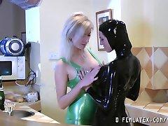 Amazing lesbian rubber fetish scene