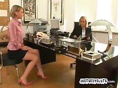 Hardcore Lesbian job interview