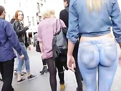 Hot Blonde wears a painted jeans in public