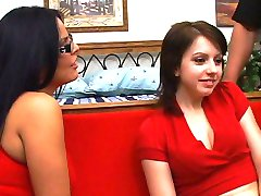Two lovely girls sucking cock
