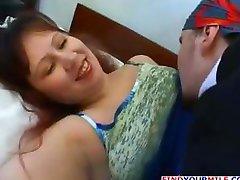 Chubby, busty brunette Russian MILF Elena eats cock and fucks