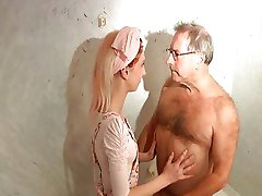 Old pervert fucks horny young hotel maid