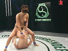 Flexible girls catfighting and fucking!
