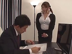 Busty Japanese secretary Yui strapon fucks boss (censored)