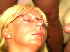 Cum Queen Jade: A Blonde Milf with Glasses Gets Cum Covered