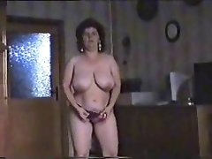 Great striptease of hairy mature bitch. Amateur older