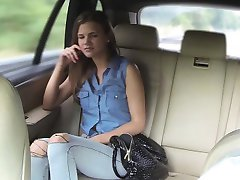 Tight amateur passenger railed by the driver in the cab