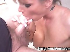 Busty Tera sucking cock and titty fucked