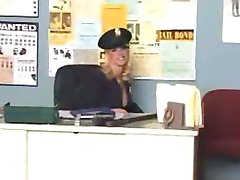 erotic blonde girl in the police station