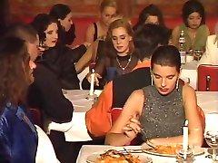 An restaurant orgy in public