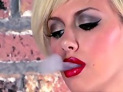 Tatted Teen Smoking Masturbates