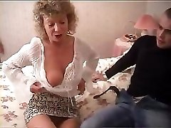 British granny goes completely insane and tries to fuck with her grandson's friend