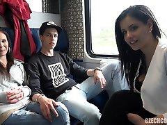 Foursome Fuck-fest in Public TRAIN