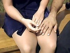 Sexy blonde pantyhose nail outdoors