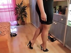 Amateur in nylon pantyhose and high heel boots