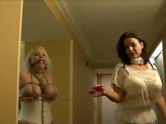 Full figured girl hog-tied in milky lingerie