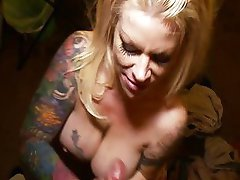 Busty blonde MILF sucks and titty fucks