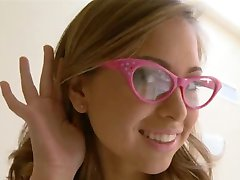 Squirting schoolgirl wearing glasses banged hard